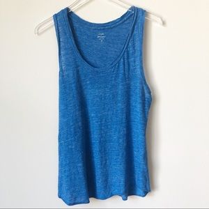 J. Crew Olympic Blue Linen Muscle Tee